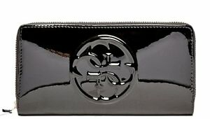 NEW-Guess-Shine-Patent-Zip-Around-Wallet-Clutch-Bag-Black