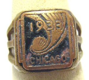 1933-CHICAGO-WORLDS-FAIR-ENAMEL-ADJUSTABLE-RING-BRASS-TONED-SYBOLL