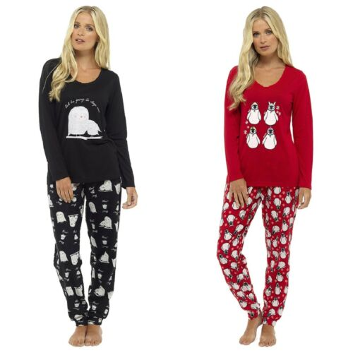 Ladies Fun Print Pyjama Set with Fleece Bottoms ~ Owls or Penguins