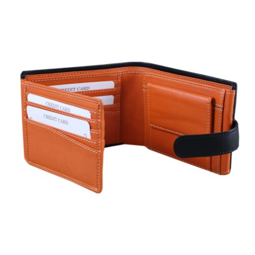 Gift Bag RFID Men/'s Black Multi Fold Wallet Hand-Made Nappa Leather 20 Cards!
