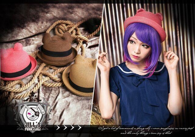 lolita fantasy cartoon gentleman Ocicat kitty ear Panama derby hat JN6151