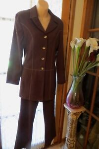 VINTAGE-90-039-S-NECESSARY-OBJECTS-Brown-PANTS-SUIT-Size-12