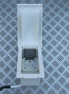 RV WHITE EXTERIOR  PHONE JACK PLATE RECEPTACLE CAMPER TRAILER