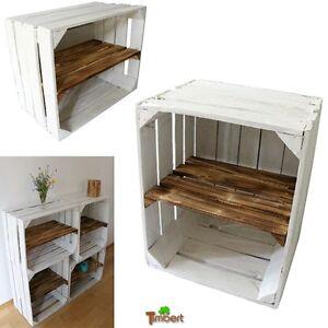 alte wei e obstkisten mit zwischenbrett regal holzkisten schuhregal b cherregal ebay. Black Bedroom Furniture Sets. Home Design Ideas
