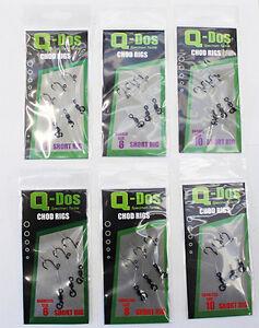 BARBLESS Triple pack short chod rig hooks Size 8 to florocarbon line