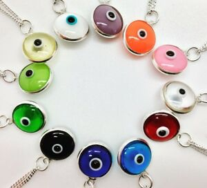 925-Sterling-Silver-Evil-Eye-Necklace-Mati-Nazar-Pendant-Charm-Round-Girl-Women