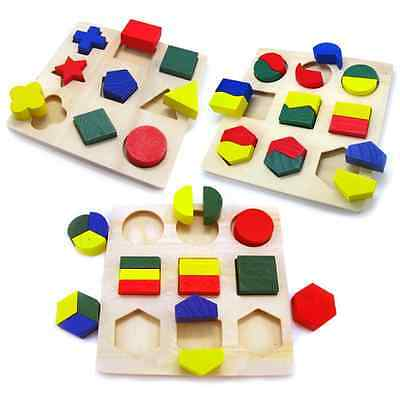 Kids Children Maths Geometry Wooden Puzzle Blocks Preschool Educational Game Toy