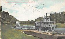 A79/ Grand Forks North Dakota ND Postcard 1908 Riverside Park Steamer Wharf