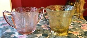 Vintage-depression-Yellow-glass-cream-and-Pink-open-sugar-bowl-Springtime-Decor
