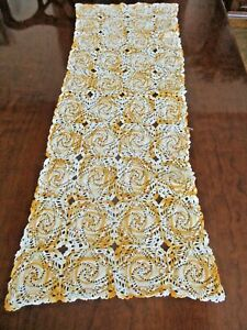 """Hand crocheted ivory and orange vintage table runner/dresser scarf - 35"""" x 13"""""""