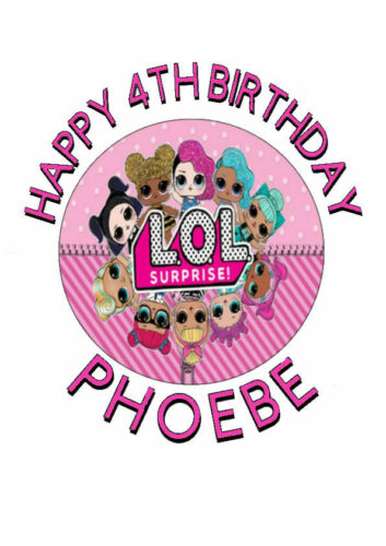 Personalised LOL Edible Birthday Cake Topper Ribbon and Cupcake Toppers