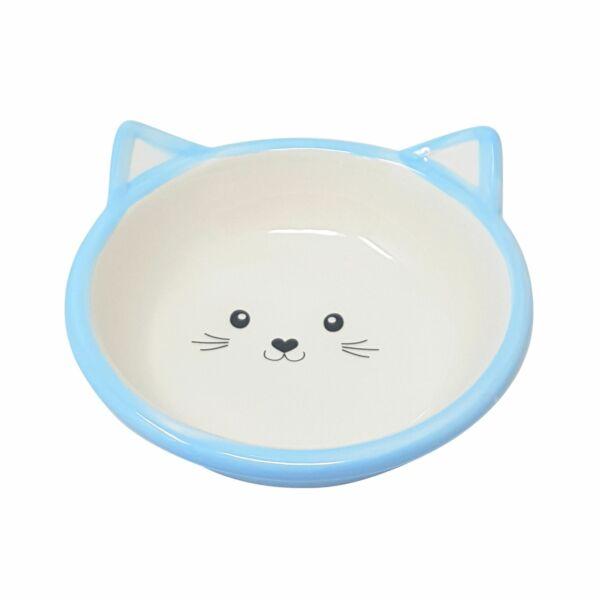 2 X Gatto Gattini Porcellana Blu Acqua Cibo Ciotole Piatto 13cm - 12.7cm Per Spedizioni Veloci