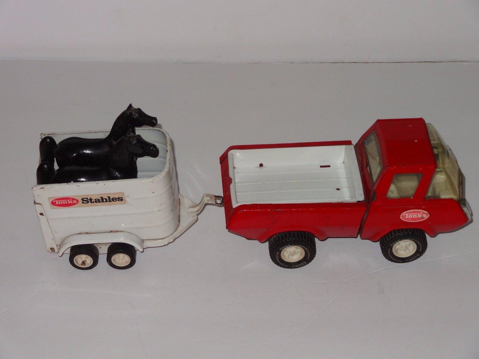 TONKA écuries 42620 camion remorque & CHEVAUX Classic années 70