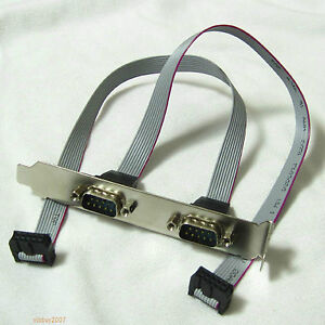 Low profile Normal Bracket Serial DB9 RS232 9pin Com Port host case Cable cord
