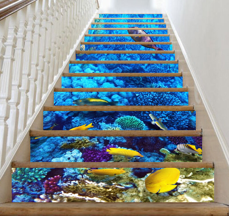 3D Bright Seabed 72 Stair Risers Decoration Photo Mural Vinyl Decal Wallpaper U