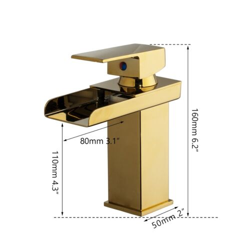 Bathroom Gold Waterfall Hot /&Cold Basin Faucet Mixer Sink 1 Hole Lavetory Tap