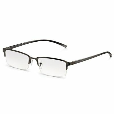 Including Free Case Women and Men Reading Glasses +2.00 Dioptres Black Half Frame Metal Reading Glasses with Rectangle Lenses Lightweight Stainless Steel Frame