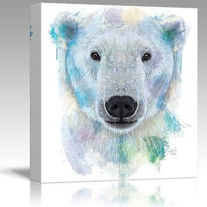 Wall26-Fun-and-Colorful-Splattered-Watercolor-Polar-Bear-Canvas-Art-12x12