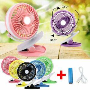 USB Rechargeable Desk Fan Battery Operated Clip On Mini Fan Summer Cooling Fan