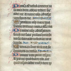 c1480 Latin decorated medieval manuscript 4 GOLD caps Book of hours psalm RARE
