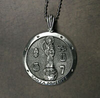 Santa Muerte Medallion Necklace - Holy Death Brujeria Saint Death Large 2
