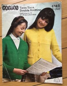 Patons-Knitting-Pattern-Term-Time-Double-Knitting-Vintage-Girls-Cardigans-1970s