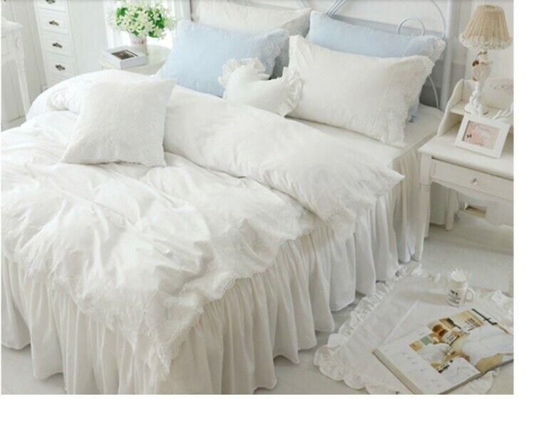 E422 King Größe Cotton Bedding Bed Skirt+Quilt Cover+Pillow Case 4 PCS Set O