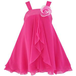 Sunny-Fashion-Robe-Fille-A-ligne-Licou-Fleur-Multi-Couche-Mousseline-De-Soie