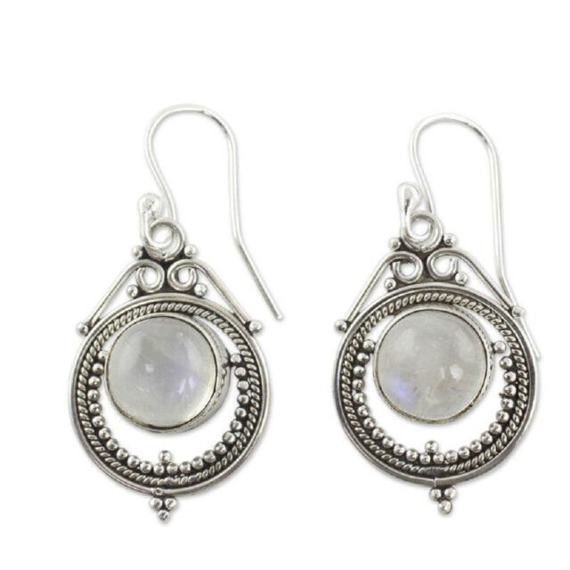 Bamoer Real S925 Sterling Silver Earrings Black agate Dangle For Women Jewelry