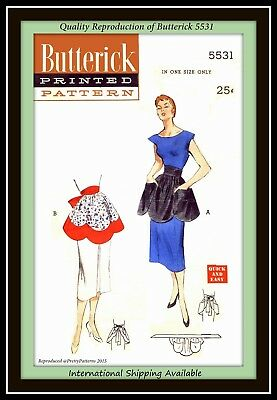 Scalloped Edge TEA APRON Uncut VTG Fabric Pattern Butterick 5531 QUICK and EASY