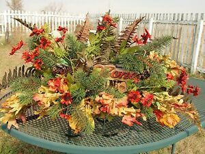 Thanksgiving-Deer-Hunter-Custom-Sympathy-Cemetery-Flower-Grave-Tombstone-Saddle