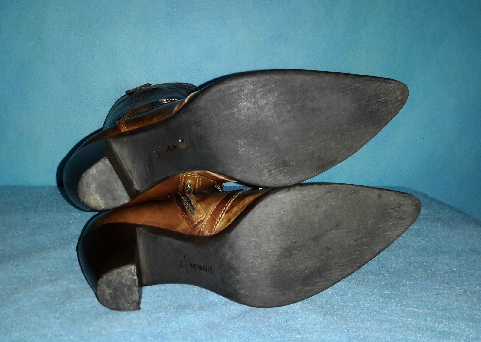 Stiefel VIC MATIE Leder en p 37 ausgezeichnete en Leder Zustand 1ee5db