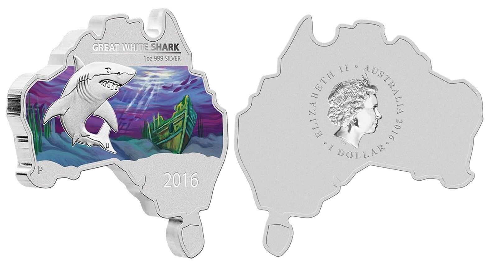 2016 Map Shaped Coin Series GREAT WHITE SHARK 1oz Silver Coin Australia