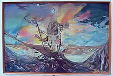 Orig Ingrid Westberg 1974 O/C Surrealism Painting 24X36 Daliesque