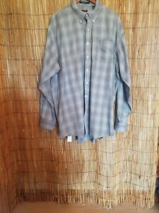 Overton-Long-Sleeve-2XLT-shirt-Black-White-And-Gold-Plaid-Checks-pre-owned