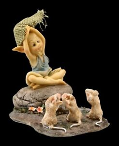 Pixie Kobold Figur - 3 Mäuse beim Yoga - Fantasy Fee Gnom Engel Dekostatue