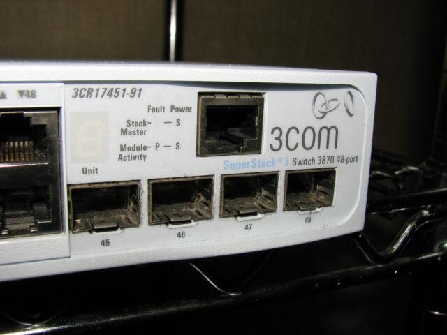 3Com Superstack 3 3870 48-Port Gigabit Network Switch Managed 3CR17451-91