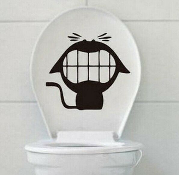 FD994 Crazy Cat Stickers Toilet Wall Home Decal Vinyl Removable Stickers DIY :)