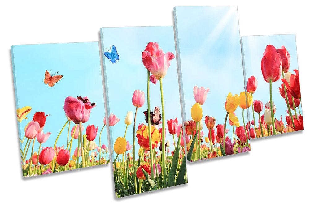 Muelle de flores de tulipán floral de impresión de múltiples múltiples de LONA pared arte enmarcado 978e88
