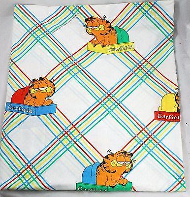 Vintage 1978 Garfield Twin Flat Bed Sheet Sleeping Cat Red Yellow Greena Euc Ebay