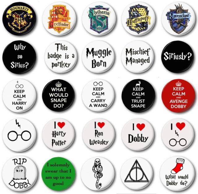 HARRY POTTER 25mm button badges voldemort hogwarts ron hermione death eater