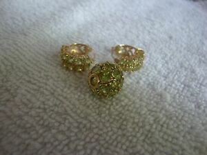 14k Peridot Double Row Huggie Hoop Earrings Glitter Ball
