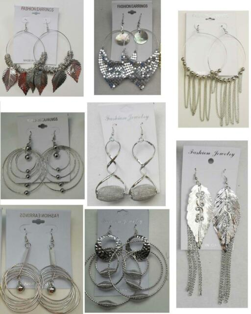 A-26 Wholesale  lot 10 pairs  Big Fashion Dangle Silver Plated  Earrings
