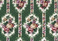 Waverly Fabric Easton Gate Green Burgundy Gold White Drapery  Upholstery