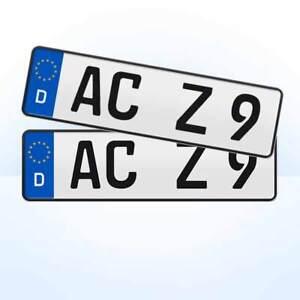 2 Stück EU Kfz-Kennzeichen + 400 x 110 mm + Nummernschilder