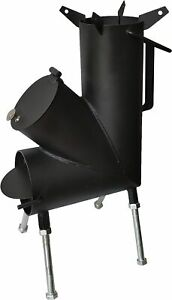 Camping Rocket Stove With A Fire Poker & Tongs. A Portable Wood Burning Stove