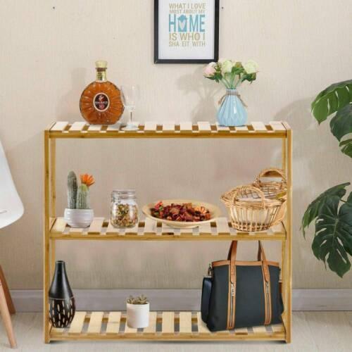 3-Tier Bamboo Shelf Rack Storage Bathroom KitchenOrganizer Holder Stand UK