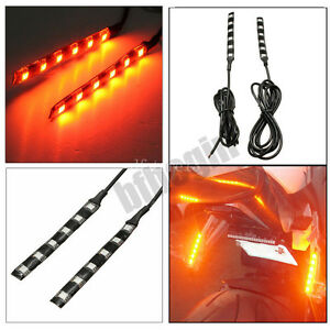 2x-12V-Orange-6-LED-SMD-Moto-Velo-VTT-Feux-Bande-Clignotant-Indicateur-Lumiere