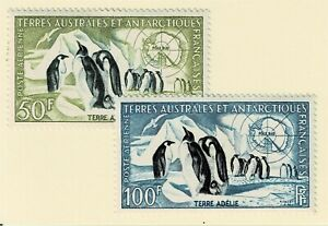 FRENCH-ANTARCTIC-TAAF-1956-AIRMAIL-PENGUINS-Sc-C1-C2-MNH-E-2086