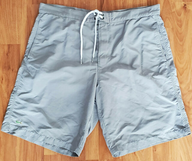 Mint LACOSTE Gray Swimming Trunks Board Shorts L LARGE 100% Polyester Mesh Lined